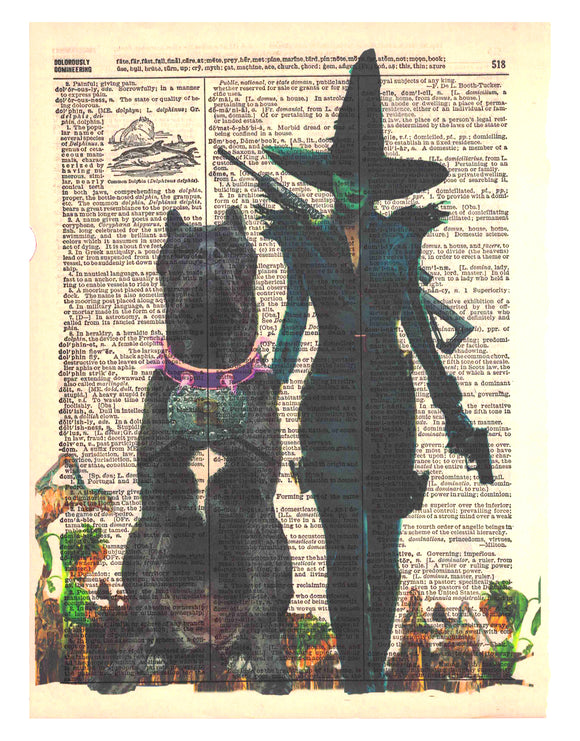 Art N Wordz Wizard of Oz Wicked Witch I'm Gonna Get You Pretty Upcycled Dictionary Sheet Pop Art Wall or Desk Art Print Poster