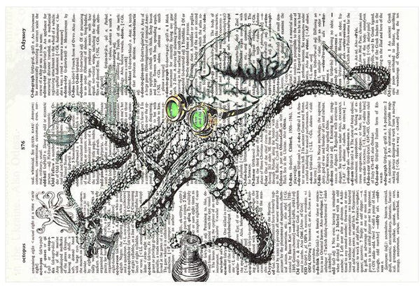 Art N Wordz Mad Octopus Scientist Original Dictionary Sheet Pop Art Wall or Desk Art Print Poster