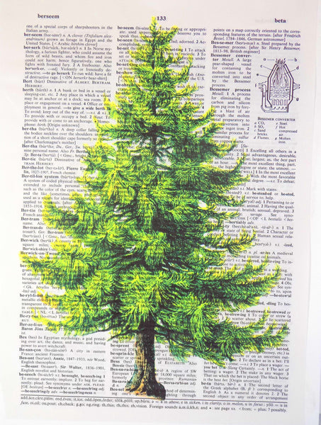 Art N Wordz Natural Cut Pine Tree Original Dictionary Sheet Pop Art Wall or Desk Art Print Poster