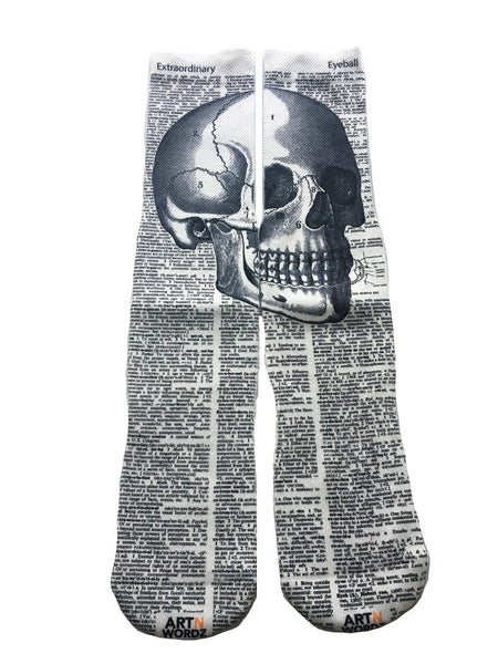 Artnwordz Apparel The Head Skull Dictionary Pop Art Unisex Socks