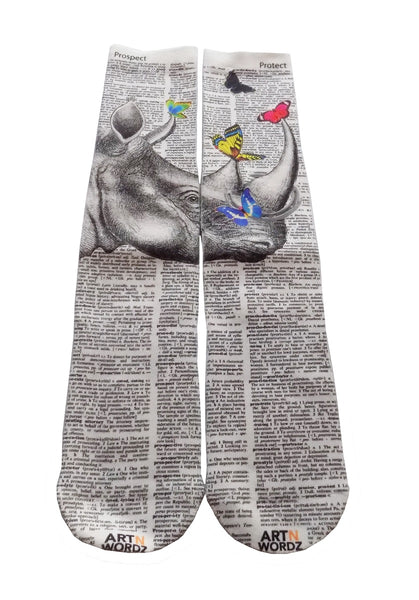 Art N Wordz Apparel Rhino Butterflies Dictionary Pop Art Unisex Socks