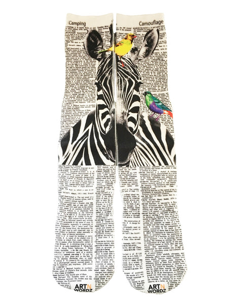 Artnwordz Apparel Zebra with Colorful Birds Dictionary Pop Art Unisex Socks