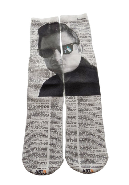 Art N Wordz Apparel Johnny Cash Reflection Dictionary Pop Art Unisex Socks