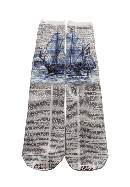 Artnwordz Apparel Tall Blue Ship At Sea Dictionary Pop Art Unisex Socks