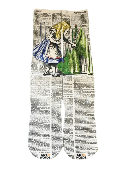 Art N Wordz Apparel Alice in Wonderland's Door Dictionary Pop Art Unisex Socks