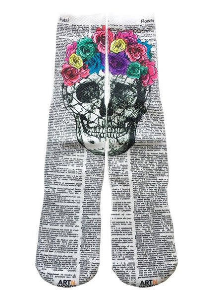 Art N Wordz Apparel Flower Crown Skull Dictionary Pop Art Unisex Socks