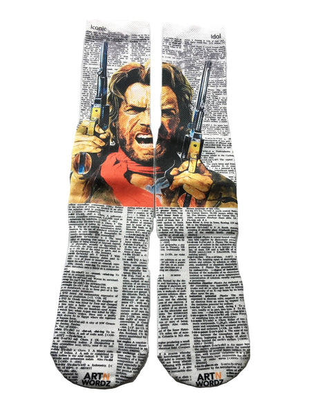 Artnwordz Apparel Clint Eastwood Cowboy Dictionary Pop Art Unisex Socks