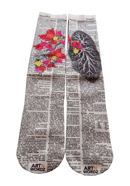 Artnwordz Apparel Flower Lungs Dictionary Pop Art Unisex Socks