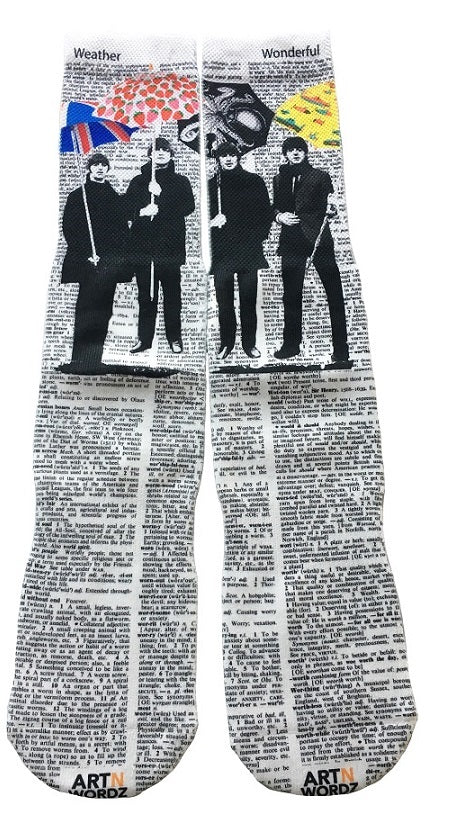 Art N Wordz Apparel UM The Beatles Umbrella Dictionary Pop Art Unisex Socks