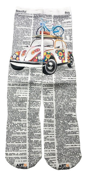 Art N Wordz Apparel VW Bug Beetle Bike Dictionary Pop Art Unisex Socks