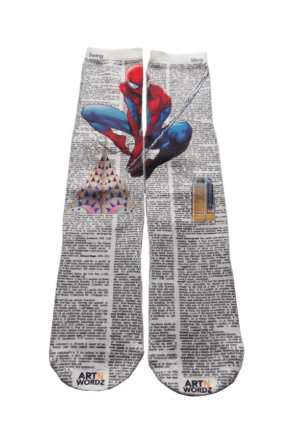 Artnwordz Apparel Spiderman Spider Man Dictionary Pop Art Unisex Socks