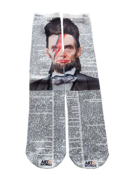 Artnwordz Apparel Ziggy Lincoln Abe Stardust Dictionary Pop Art Unisex Socks