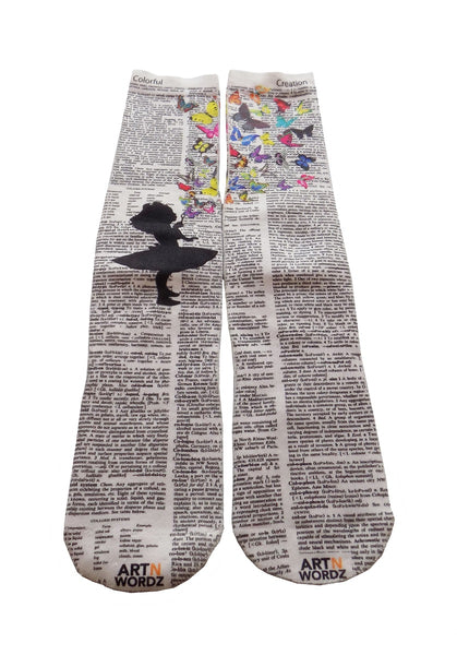 Art N Wordz Apparel Butterflies Fly Dictionary Pop Art Unisex Socks