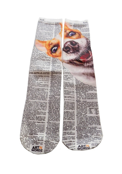 Artnwordz Apparel Woof Dog Dictionary Pop Art Unisex Socks
