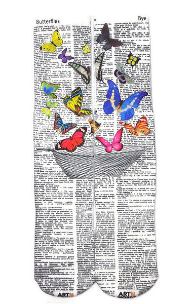 Artnwordz  Apparel Butterfly Net Butterflies-Bye Dictionary Pop Art Unisex Socks