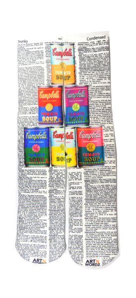 Art N Wordz Campbell's Soup Cans Chunky-Condensed Dictionary Print Pop Art Unisex Socks