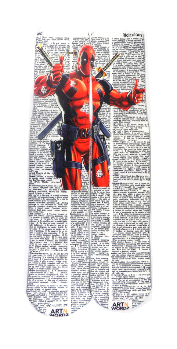 Artnwordz Marvel's Deadpool Red-Ridiculous Dictionary Print Pop Art Unisex Socks