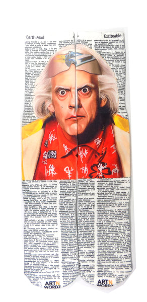 Art N Wordz Back to the Future Doc Brown Earth Mad-Excitable Dictionary Print Pop Art Unisex Socks