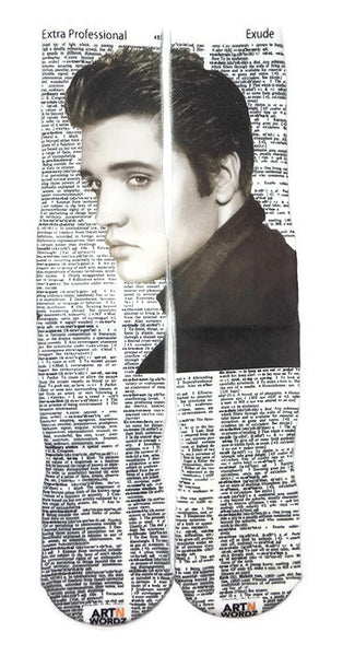 Art N Wordz Apparel Elvis Presley Extra Professional-Exude Dictionary Pop Art Unisex Socks
