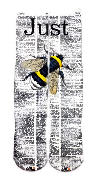 Artnwordz Apparel Just Bee Youthful-Zany Dictionary Pop Art Unisex Socks