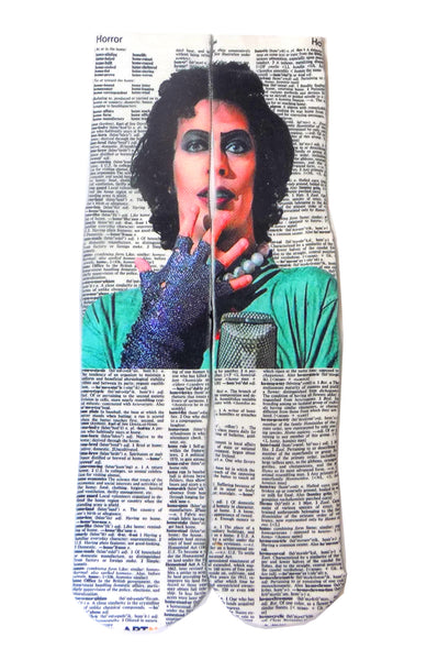 Artnwordz Apparel Rocky Horror Picture Show Dr. Frank N. Furter Horror-Ho Dictionary Print Pop Art Unisex Socks