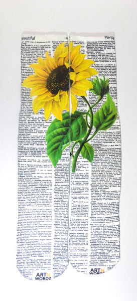 Artnwordz Sunflower Beautiful-Plenty Dictionary Print Pop Art Unisex Socks