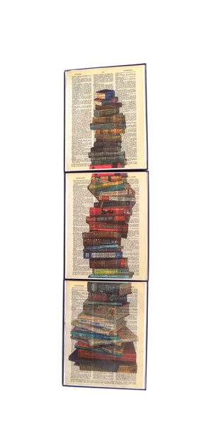 Art N Wordz Stacked Books 3 Piece Triplicate Original Dictionary Pages Pop Art Wall or Desk Art Print Poster