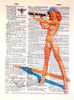 Art N Wordz Ahoy There! Vintage Pin-Up Girl Original Dictionary Sheet Pop Art Wall or Desk Art Print Poster