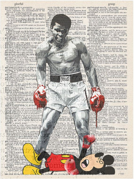 Art N Wordz Muhammad Ali Versus Mickey Mouse Original Dictionary Sheet Pop Art Wall or Desk Art Print Poster