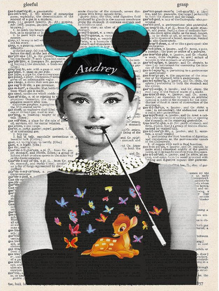 Art N Wordz Audrey Hepburn Wears Mickey Mouse Ears and Bambi Original Dictionary Sheet Pop Art Wall or Desk Art Print Poster