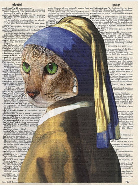 Art N Wordz Blue Cat Nun Dictionary Sheet Original Pop Art Wall or Desk Art Print Poster
