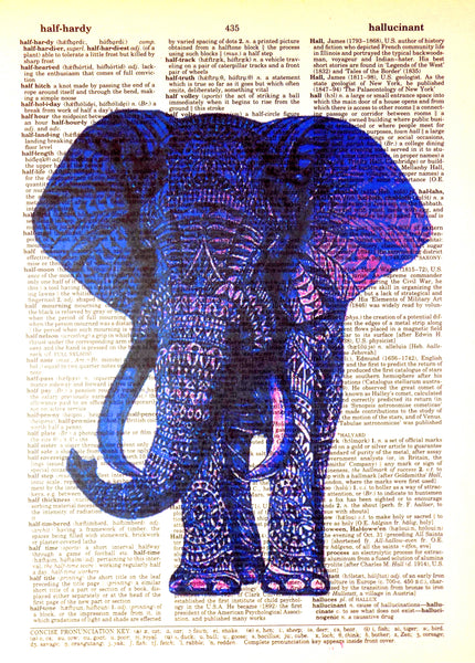 Art N Wordz Blue Tribal Elephant Original Dictionary Sheet Pop Art Wall or Desk Art Print Poster