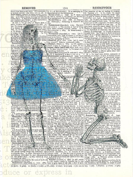 Art N Wordz In The Doghouse Skeleton Couple Original Dictionary Sheet Pop Art Wall or Desk Art Print Poster
