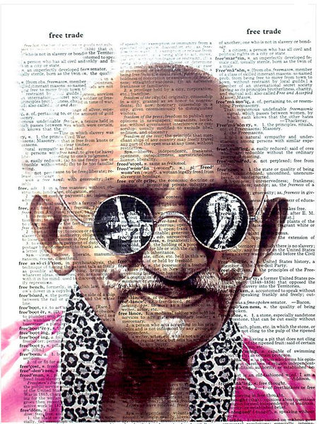Art N Wordz Mahatma Gandhi Burlesque Reflection Original Dictionary Sheet Pop Art Wall or Desk Art Print Poster