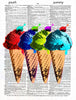 Art N Wordz I-Scream Colorful Ice Cream Original Dictionary Sheet Original Pop Art Wall or Desk Art Print Poster