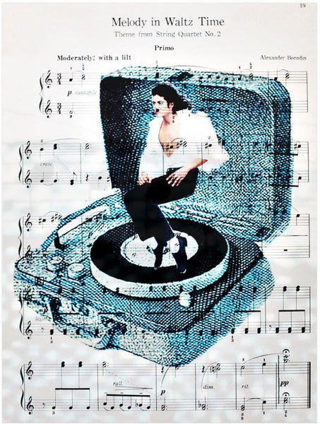 Art N Wordz Michael Jackson Spins On Record Player Original Music Sheet Pop Art Wall or Desk Art Print Poster