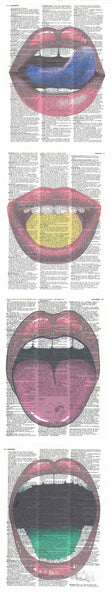 Art N Wordz Lips 4 Piece Quadruplicate Original Dictionary Sheet Pop Art Wall or Desk Art Print Poster