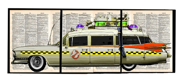 Art N Wordz Ecto One Ghost Busters 3 Piece Triplicate Original Dictionary Sheet Pop Art Wall or Desk Art Poster Triptych Prints
