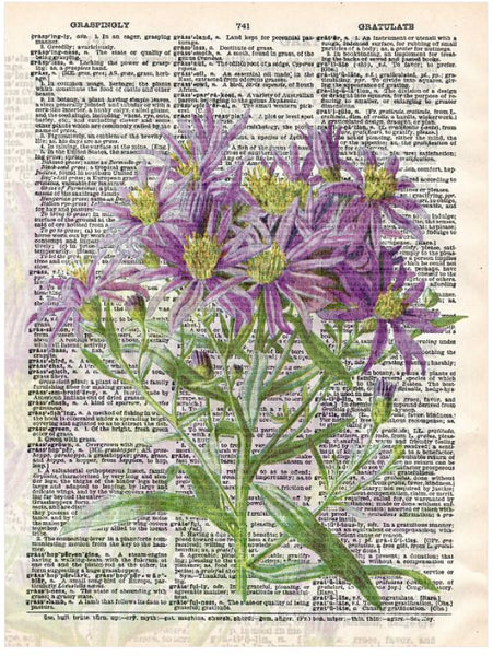 Art N Wordz Purple Flower Bouquet Original Dictionary Sheet Pop Art Wall or Desk Art Print Poster