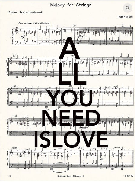 "Art N Wordz ""All You Need Is Love"" Original Music Sheet Pop Art Wall or Desk Art Print Poster"