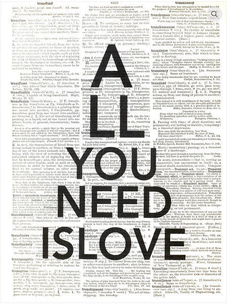 "Art N Wordz ""All You Need Is Love"" Original Dictionary Sheet Pop Art Wall or Desk Art Print Poster"