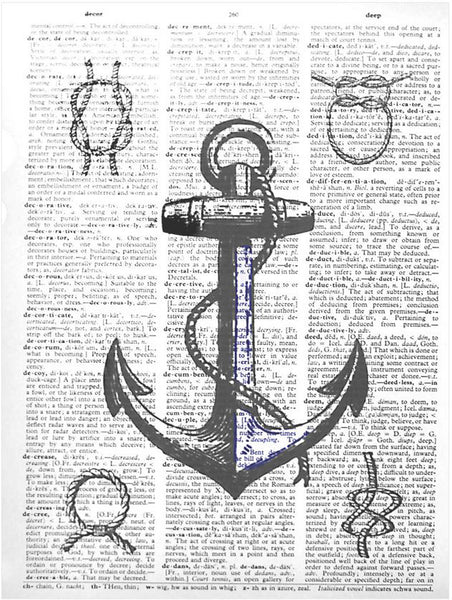 Art N Wordz Anchor Knots Original Dictionary Sheet Pop Art Wall or Desk Art Print Poster