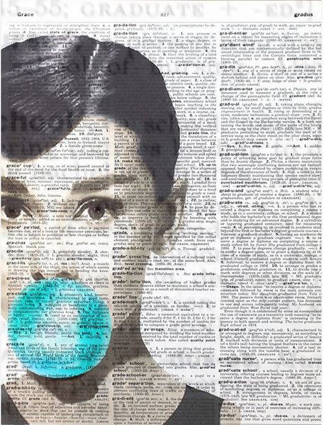 Art N Wordz Audrey Hepburn Bubble Original Dictionary Sheet Pop Art Wall or Desk Art Print Poster