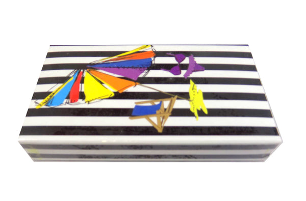 "The Joy of Light Designer Matches Beach Scene Black Striped UV Coated Embossed 4"" Collectible Matchbox"
