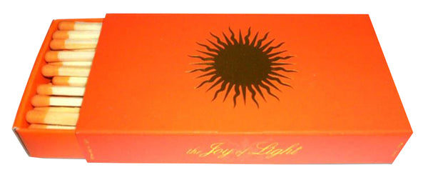 "The Joy of Light Designer Matches Gold Sun on Orange Embossed 4"" Collectible Matchbox"
