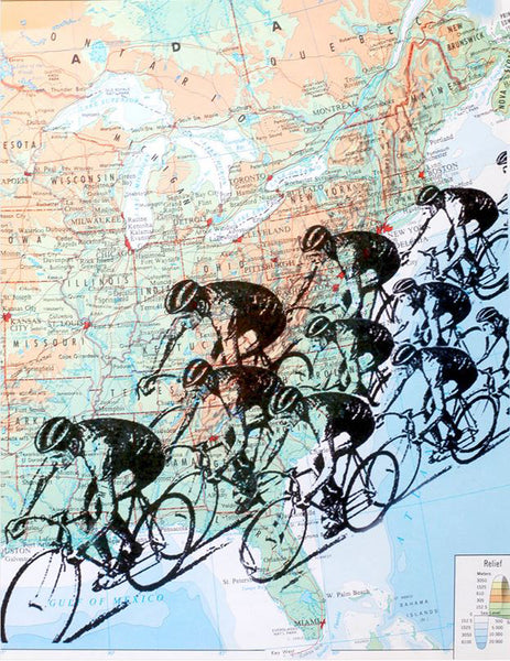 Art N Wordz Bike Race Cyclist Original Atlas Sheet Pop Art Wall or Desk Art Print Poster