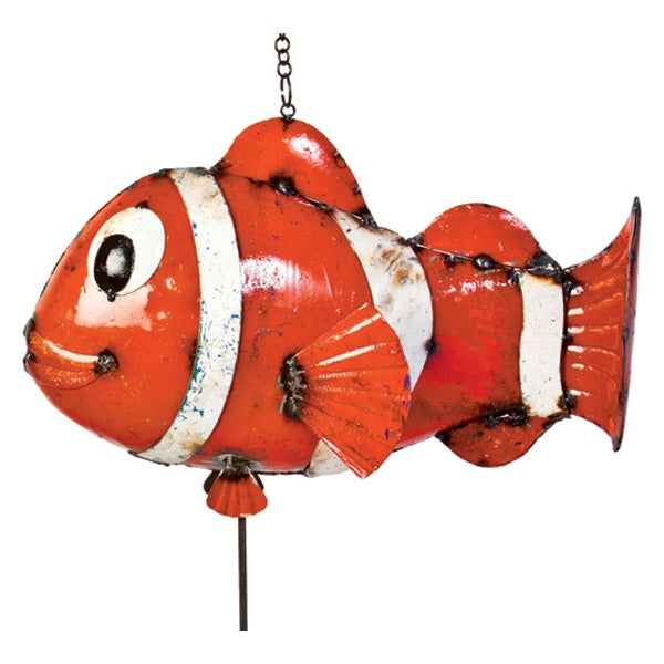 Think Outside Bozo the Clown Fish Handmade Scrap Metal Sculpture