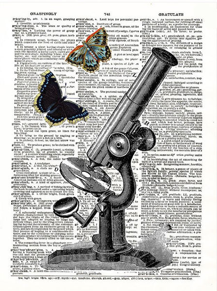 Art N Wordz Butterfly Microscope Original Dictionary Sheet Pop Art Wall or Desk Art Print Poster