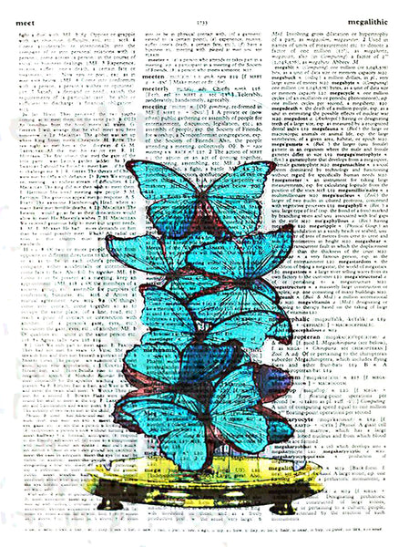Art N Wordz Butterfly Under Glass Original Dictionary Sheet Pop Art Wall or Desk Art Print Poster