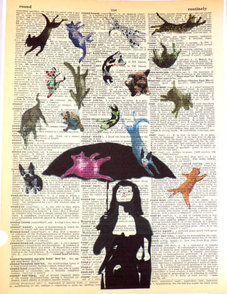 Art N Wordz It's Raining Cats & Dogs Original Dictionary Sheet Pop Art Wall or Desk Art Print Poster